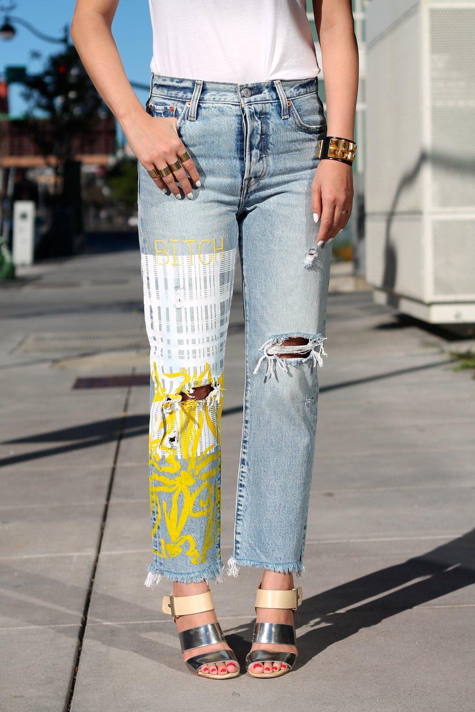 Custom jeans c/o Levi's, print by DVF, Tee c/o Cuyana, Hermes bracelet, Margiela rings, Sam Edelman shoes