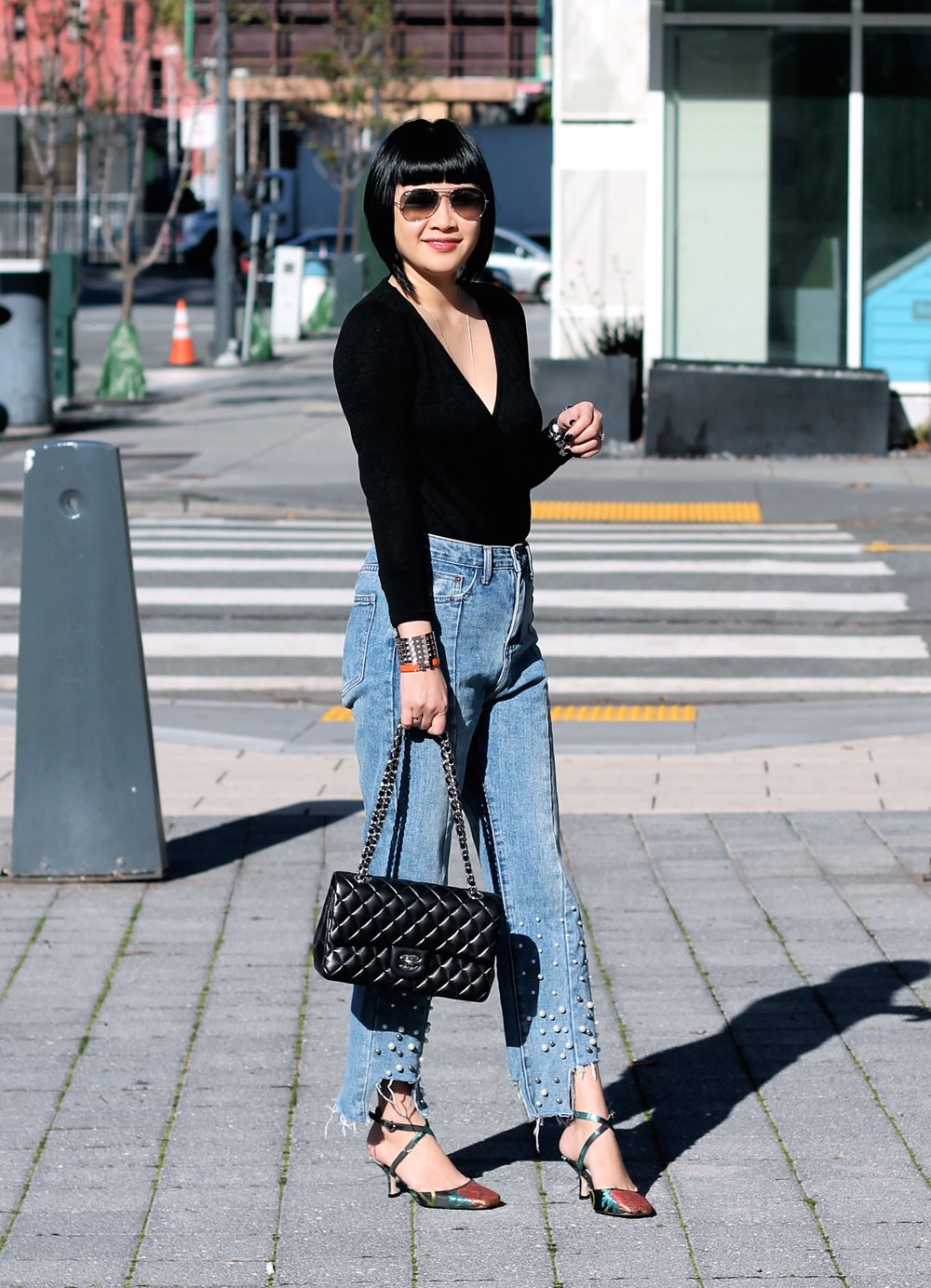 Storets jeans, Aritzia top, Zara shoes, Ray-Ban sunglasses, Chanel bag