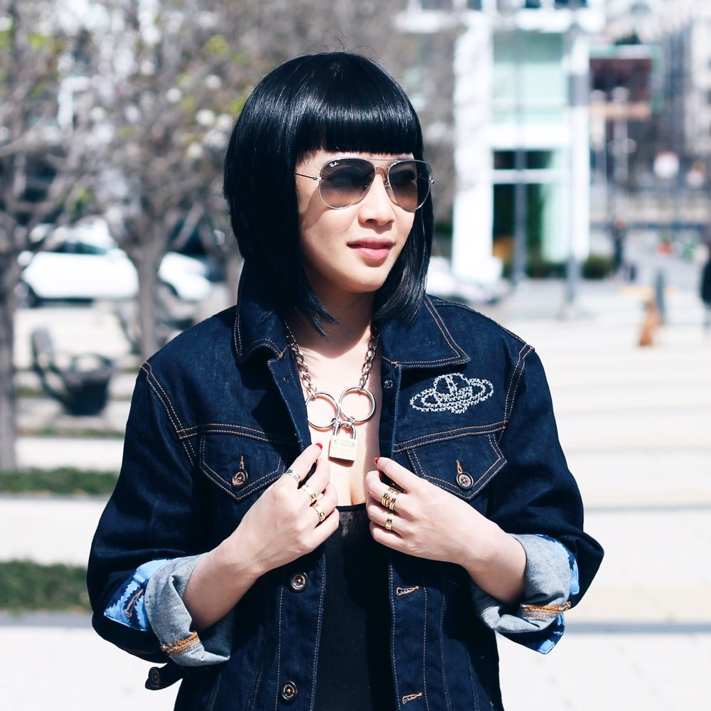 Vivienne Westwood denim jacket , Rodarte necklace, Svelte Metals, Cartier and my own rings, Ray-Ban sunglasses