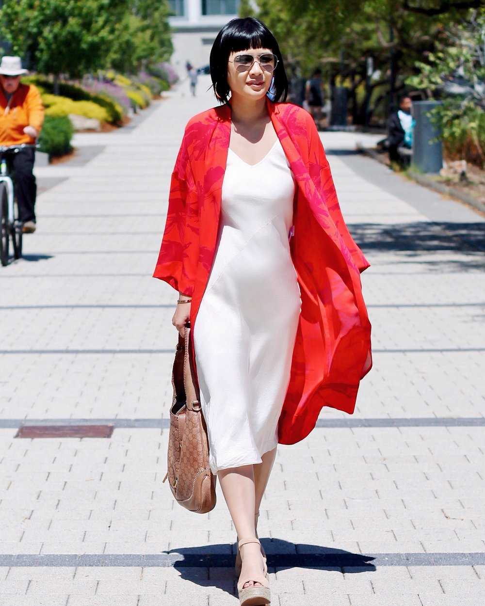 Aritzia dress and robe, Kenneth Cole shoes, Gucci bag, Ray-Ban sunglasses, Svelte Metals hoops