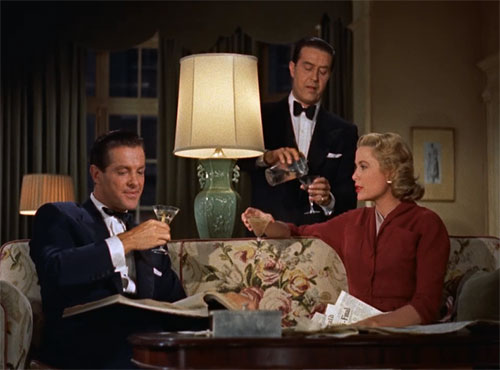 "Robert Cummings (from left), Ray Milland and Grace Kelly in Alfred Hitchcock's ""Dial M for Murder"""