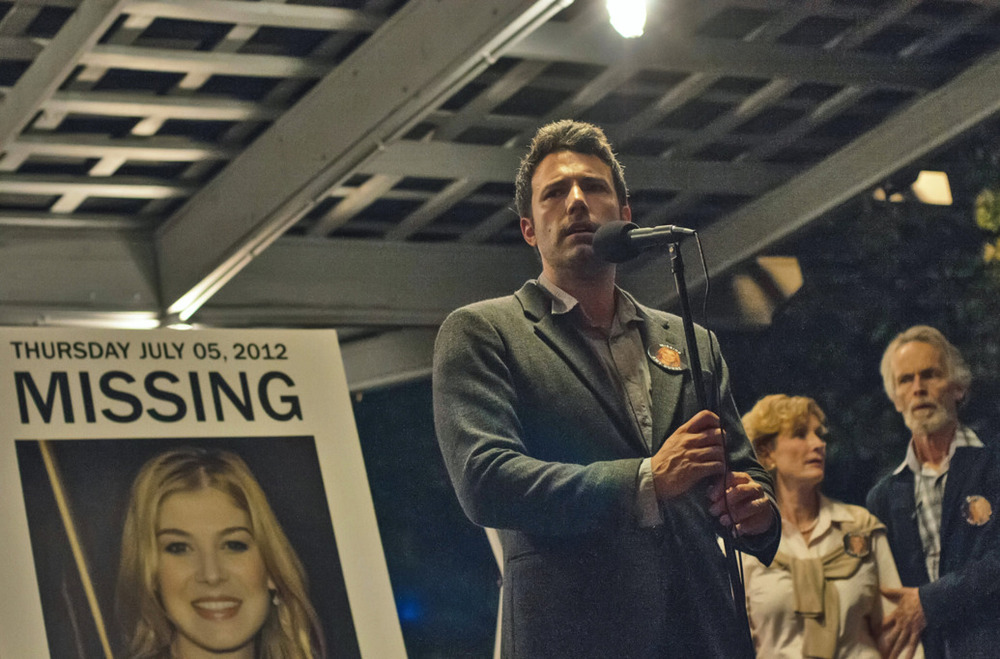 "Ben Affleck as a husband implicated in his wife's disappearance in ""Gone Girl"""