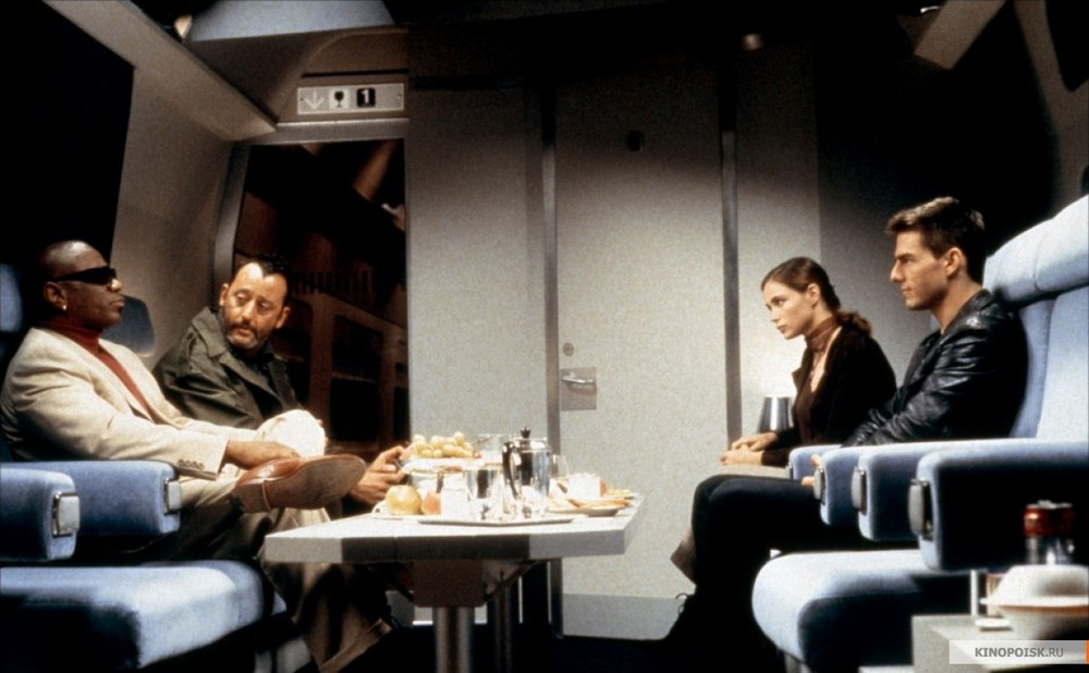 "Ving Rhames (from left), Jean Reno, Emmanuelle Beart and Tom Cruise in ""Mission: Impossible."""