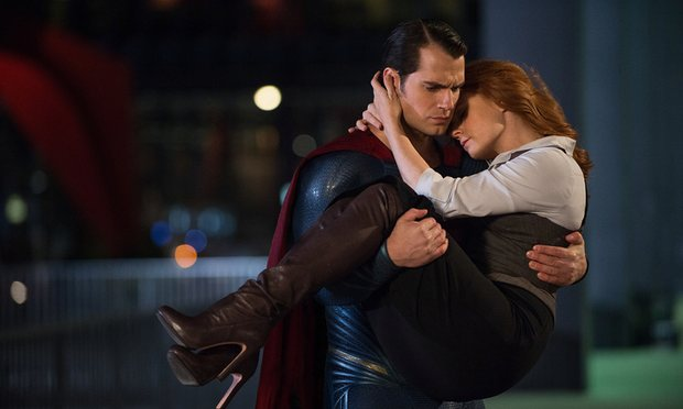 Superman (Henry Cavill) rescuing Lois Lane (Amy Adams) for the umpteenth time.