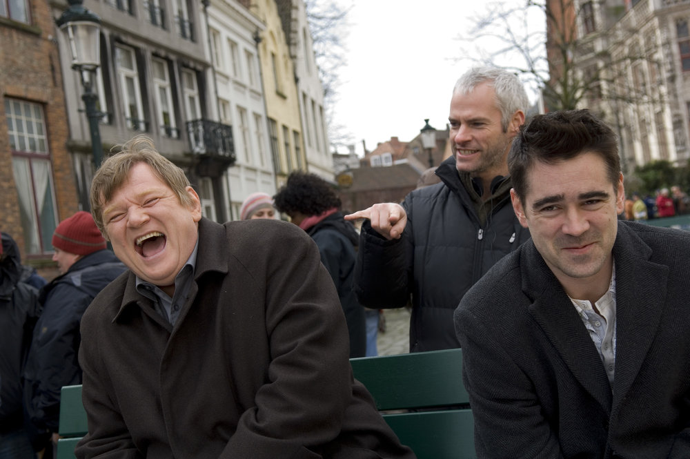 "Brendan Gleeson (from left), Martin McDonagh and Colin Farrell have a laugh on the set of ""In Bruges"""