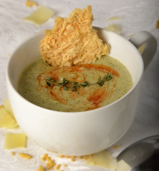 Creamy Broccoli soup with Parmesan crisps