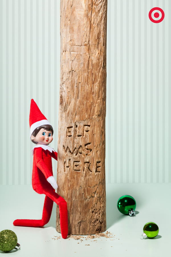 Sometimes our Elf is sweet and sometimes he's a little sneaky. Last night – definitely sneaky. Look who we caught carving his name in the trunk of the Christmas tree with a pocketknife. If your Elf is pressed for time, a sticker or magic marker would work fine, too!