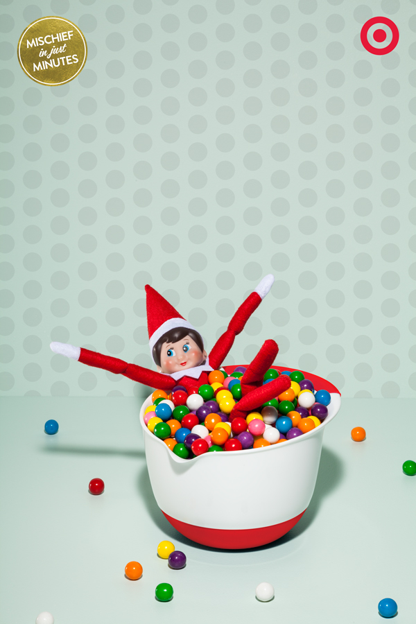 You see a bag of gumballs and a mixing bowl – Elves see a gumball ball pit ready to go! So go ahead and dive into colorful, candy-full Christmas fun.