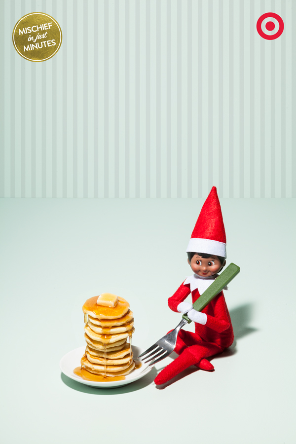Nothing starts an elf's day off the right way like a heaping pile of pancakes. Of course, elf pancakes are about the size of a quarter, but really, that's good news for 2 reasons. First – tiny pancakes cook in about 10 seconds. The other reason - A bottle of syrup will last you   approximately forever.