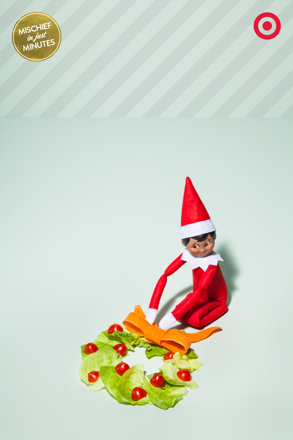 Merry Christmas from the crisper! A veggie Christmas wreath is as easy as 1, 2, 3. 1 – arrange lettuce leaves into a circle, 2 – cut cherry tomatoes into decorative 'berries', 3 – use a veggie peeler to make a carrot ribbon and top it all off. As least, that's how our Elf On The Shelf told us that SHE made it happen.
