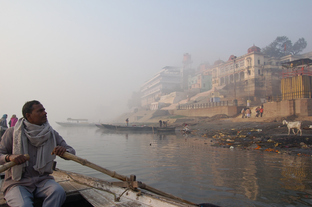 Boater on the Ganges, Varanasi, India