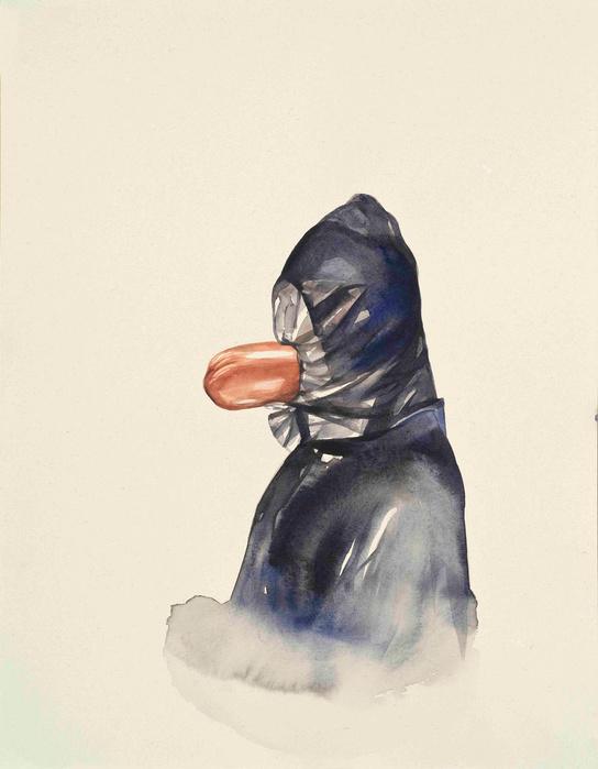 Oda Jaune,  Sans titre , 2015   Aquarelle—45×35 cm Courtesy Galerie Daniel Templon, Paris
