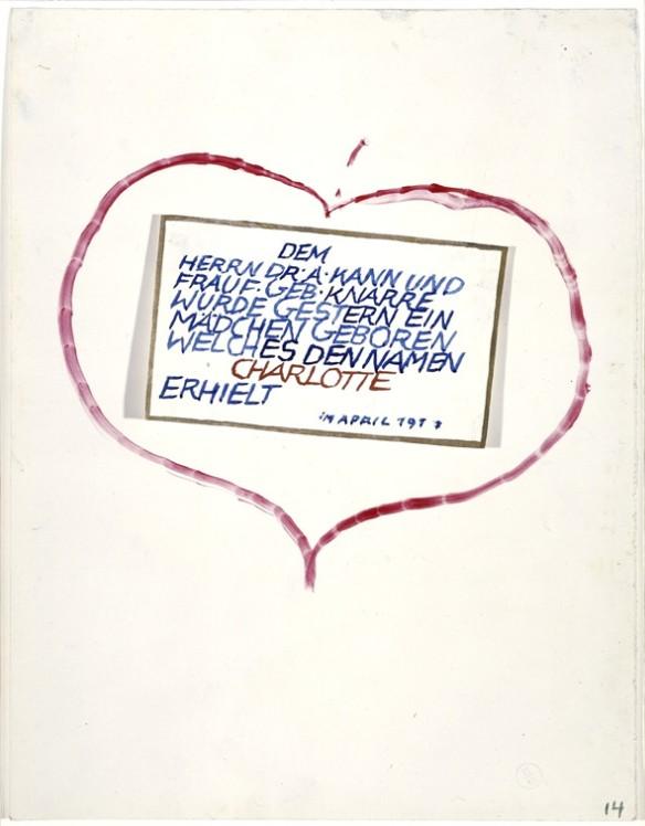 """'Le Dr. A. Kann et Mme F. Kann, née Knarre, ont le plaisir de vous annoncer la naissance, hier, de leur fille Charlotte"""".  Avril 1917"""