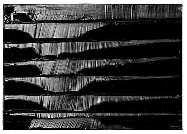 Pierre Soulages, Peinture, 9 mars 2014 Acrylique sur toile — 57 × 81 cm © Pierre Soulages — Photo :Vincent Cunillère — Courtesy Galerie Karsten Greve Köln, Paris, St Moritz