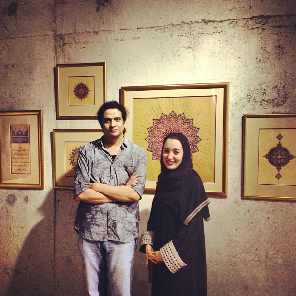 Ashraf Fayadh with a woman at an art opening during Jeddah art week, which may have been used as evidence against him at his trial. Photo: Ashraf Fayadh, via Instagram.