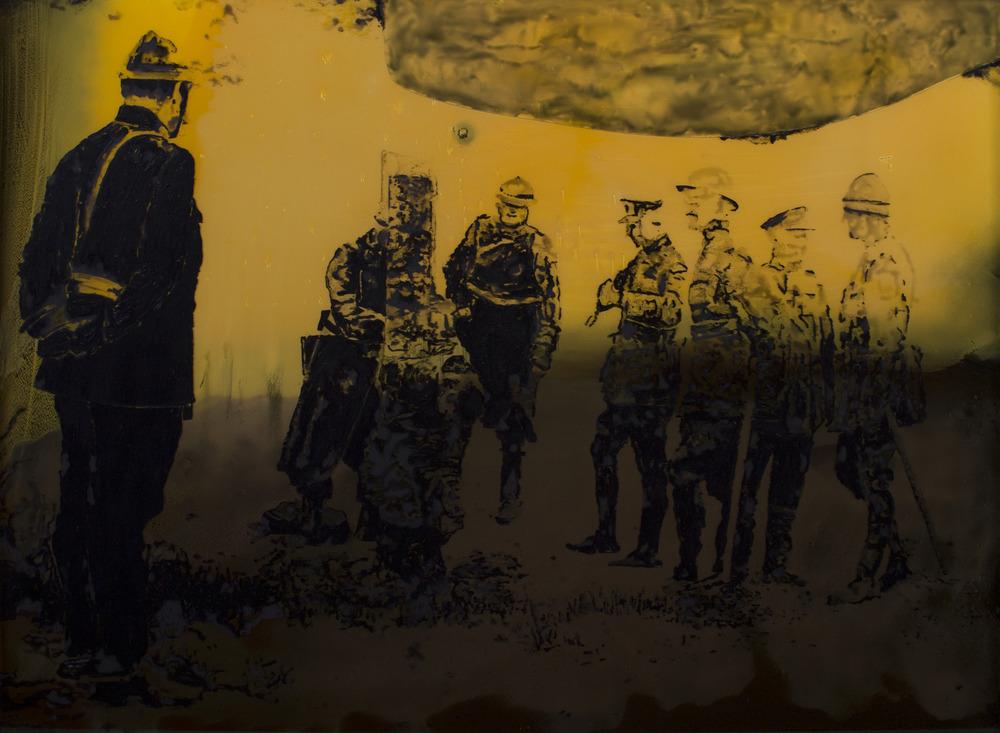 Exécution d'Aloïs Walput, volontaire belge, 3 juin, 2014 huile et silicone sur verre fendu, huile et peinture synthétique à la bombe, 120 x 165 cm /
