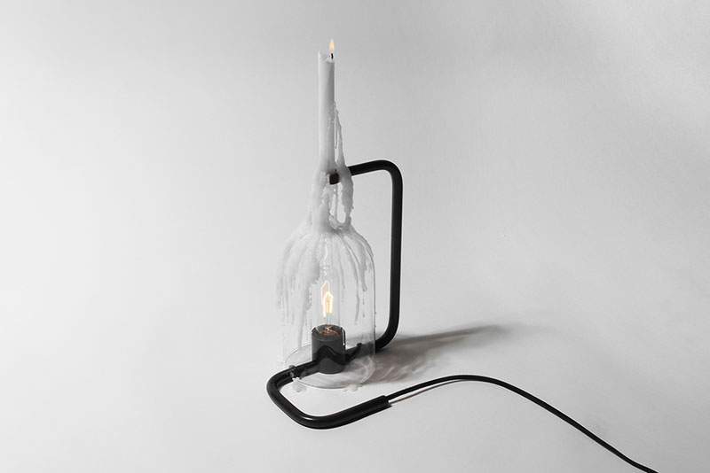 """Drip Light  2015 Steel, glass, light bulb, candle, cord. 11"""" x 9.5"""" (H x W) Edition of 10"""