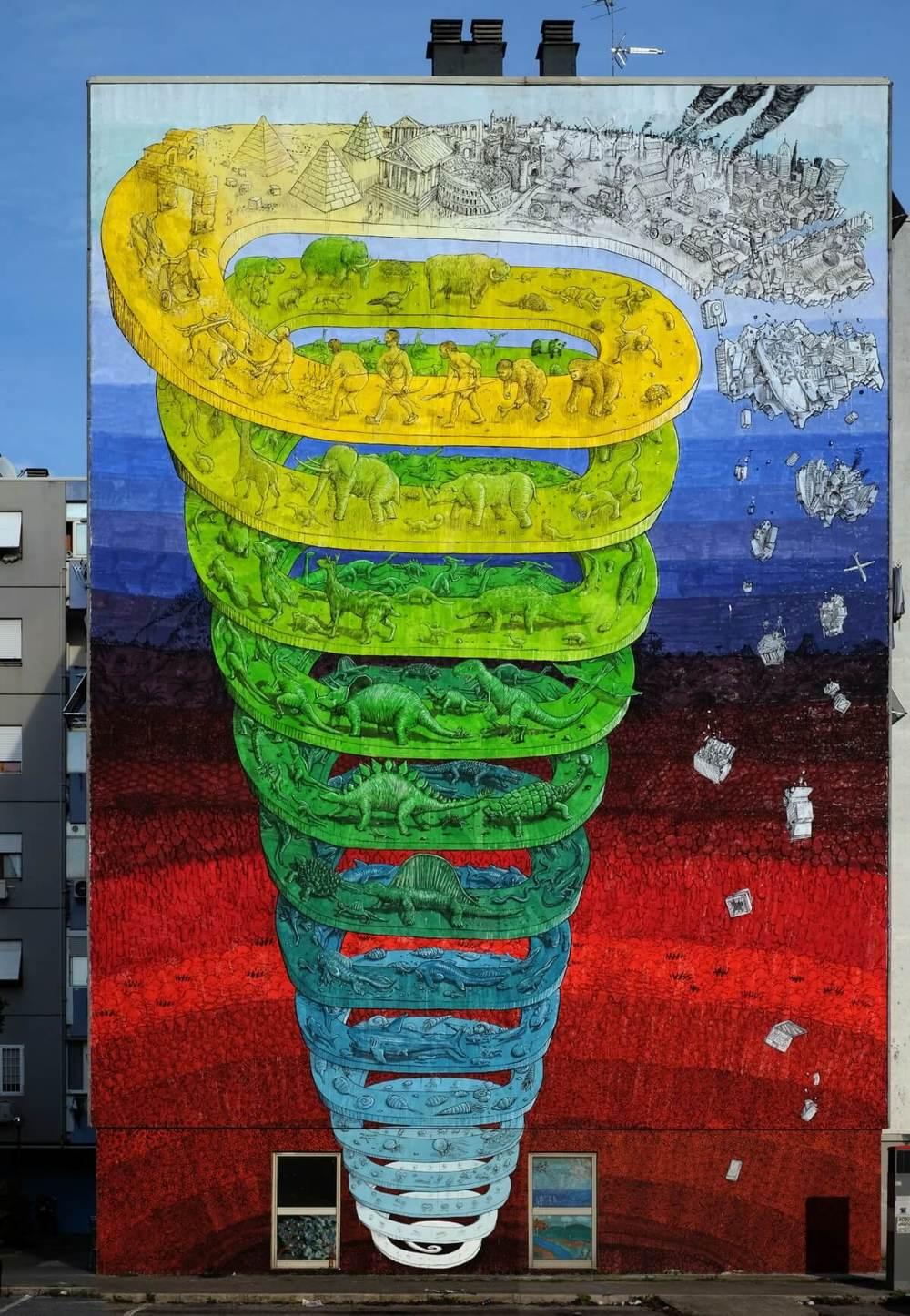 """""""L'histoire de la vie"""", fresque murale de l'artiste italien Blu, Rome, Casal de' Pazzi, 2015. Réalisée avec le comité de quartier Mammut"""
