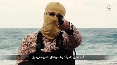 «Aujourd'hui, nous sommes au sud de Rome, sur la terre musulmane de la Libye (…) cette mer dans laquelle vous avez caché le corps du cheikh Oussama ben Laden, nous jurons devant Allah que nous allons la mêler à votre sang »