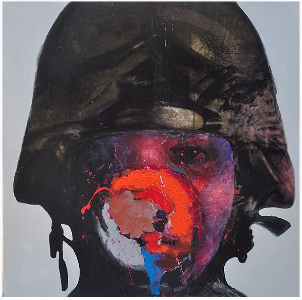 Soldier 2, 2015, mixed media on canvas, 160x160cm