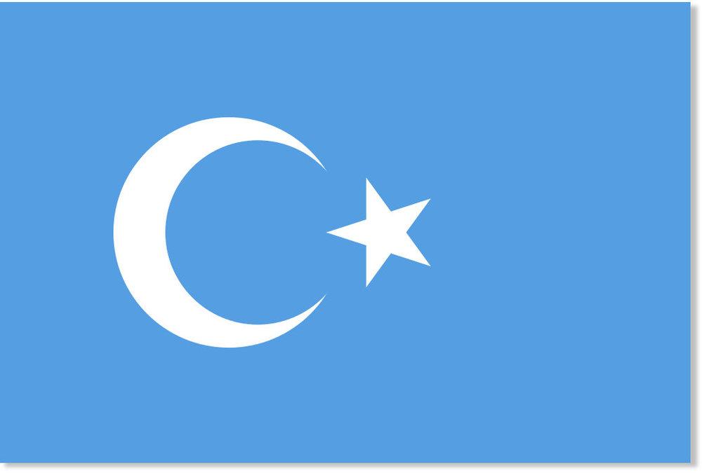 Le drapeau (projeté) du Turkestan oriental, c'est à dire le Xinjiang chinois, habité par la minorité ethnique turcophone des Ouïghours.