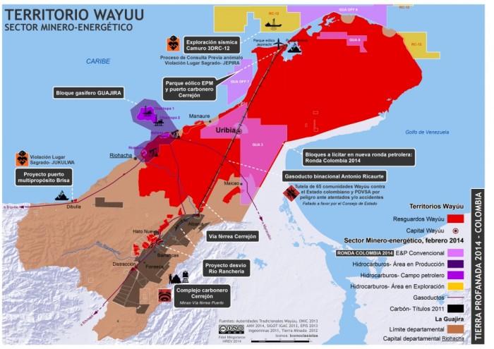 L'état des projets de prédation des ressources en territoire Wayúu