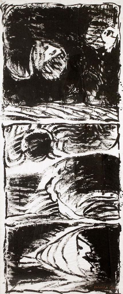 Pierre Alechinsky : Tierce personne,1976-77. Encre sur papier, 213 cm x 91. Courtesy galerie Lelong.