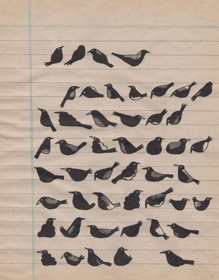 Jochen Gerner : Ornithologie 5, 2015. Encre de Chine sur support imprimé, 17,7 cm x 13,8. Courtesy galerie Anne Barrault.