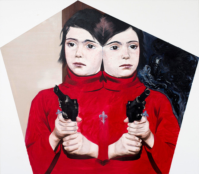 Agata Kus, miss a shot, 2015 Huile sur toile — 105 ×120 cm Courtesy of Maëlle Galerie, Paris