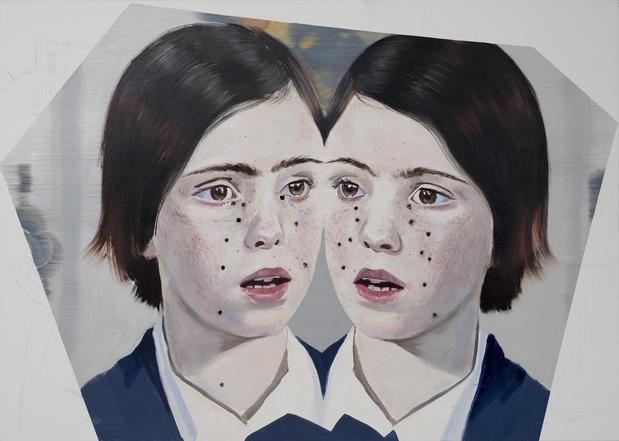 Agata Kus, Twins IV, 2015 Huile sur toile, brulures de cigarettes —105 × 130 cm Courtesy of Maëlle Galerie, Paris