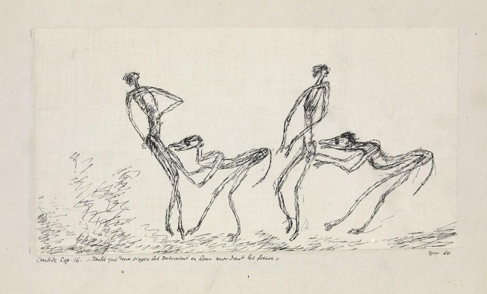 PAUL KLEE   - Candide, chapitre 16 : Tandis que deux singes les suivaient en leur mordant les fesses,   1911 Plume sur papier sur carton