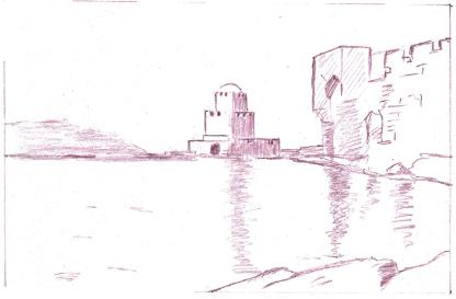 Vue de l'Amirauté (d'après un croquis du XIXe siècle) – Dessin de Philippe Arnaud.
