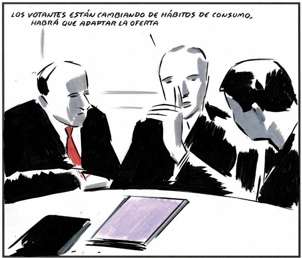 """""""Les électeurs sont en train de changer d'habitude de consommation. Il va falloir adapter notre offre"""".Une vignette d'El Roto pour le quotidien espagnol El Pais."""