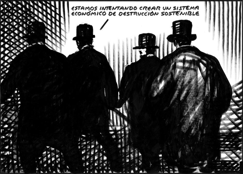 """""""Nous sommes en train d'essayer de créer un système de destruction durable""""Une vignette d'El Roto pour le quotidien espagnol El Pais."""