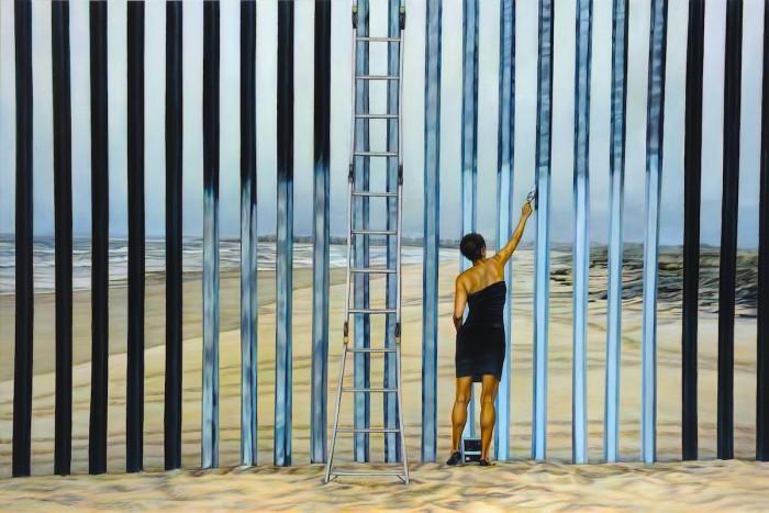 Erasing the Border (Borrando la Frontera) Effacer la frontière Huile sur toile 122 x 183 cm 2013