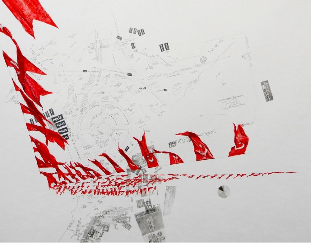 Taksim square: March 31 - June 9, I, 2015 Crayon et encre sur papier 130 x 150 cm Pièce unique Détail