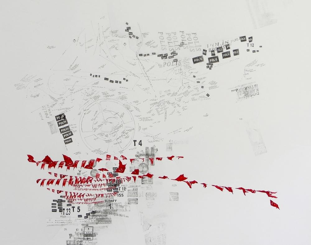 Taksim square: March 31 - June 9, I, 2015 Crayon et encre sur papier 130 x 150 cm Pièce unique