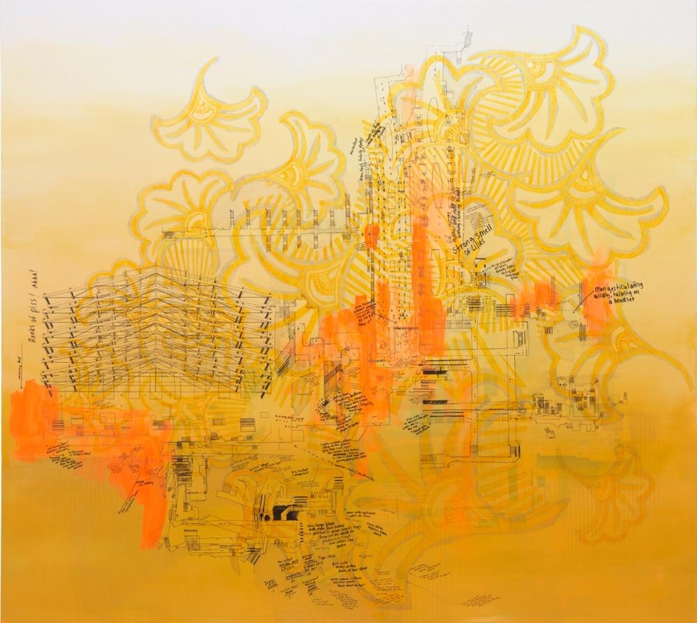 Gare du Nord IV, 2015 Encre, crayon et peinture sur toile Encadrement : 170 x 190 cm Pièce unique Galerie Jérôme Poggi,Paris