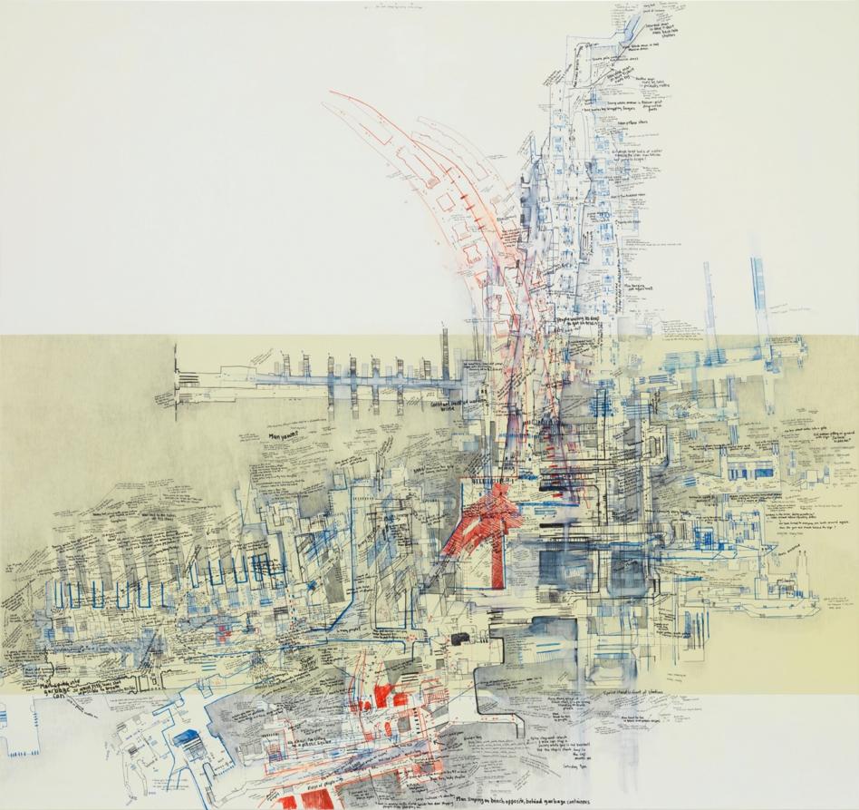Gare du Nord III, 2015   Encre, crayon et peinture sur toile   Encadrement : 170 x 180 cm    Pièce unique   Galerie Jérôme Poggi, Paris