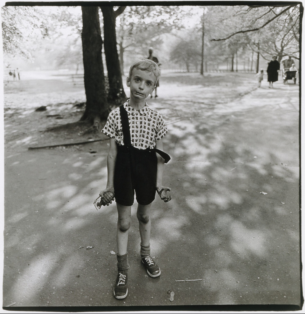 Child with a toy hand grenade in Central Park, N.Y.C. 1962 Copyright © 1970 The Estate of Diane Arbus