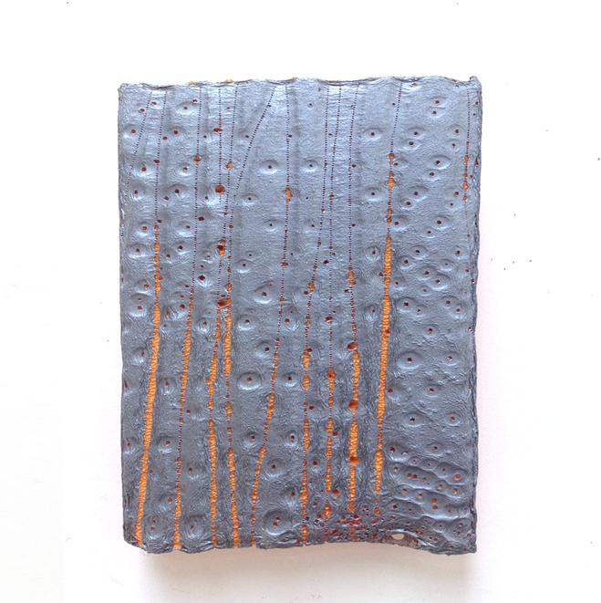 Dominique De Beir,  Altération, 8 novembre 2015 , 2015   Peinture, cire, impacts, polystyrène —29 ×21 ×3 cm © Dominique De Beir