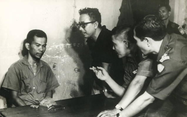 January 12, 1967: Indonesian Communist Party leader Anwar Sanusi being questioned by army officers ...