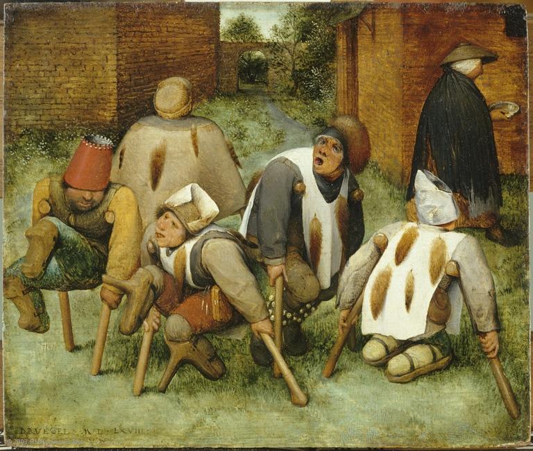 « Les Mendiants, Signé et daté en bas à gauche : Bruegel M.D.L.XVIII »
