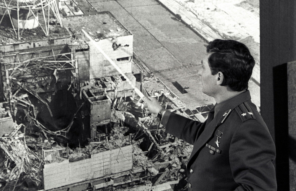 Le lieutenant-colonel Leonid Telyatnikov, chef de la brigade des sapeurs pompiers de Pripyat