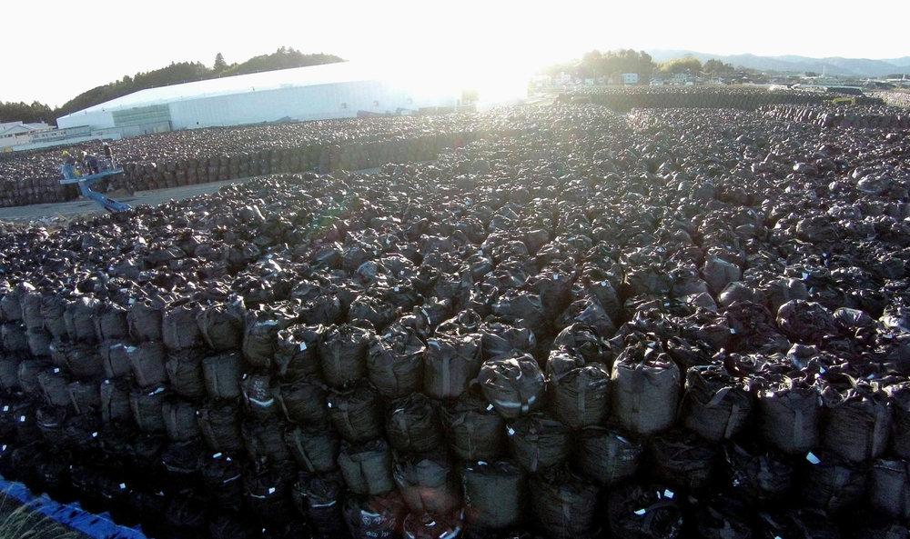 Sacs de déchets radioactifs entreposés temporairement sur le site de Tomioka. La vérité, on ne sait quoi en faire.