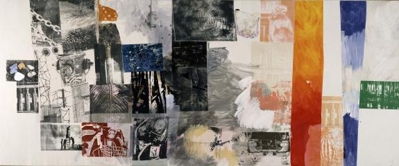 Salvage - Colonnade 1984  (Acrylic and collage on canvas)