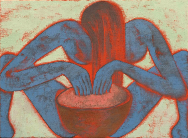 Francesco Clemente,  For Her , 2016   Huile sur toile —48, 3 ×66 cm Courtesy of the artist and Galerie Daniel Templon, Paris and Brussels