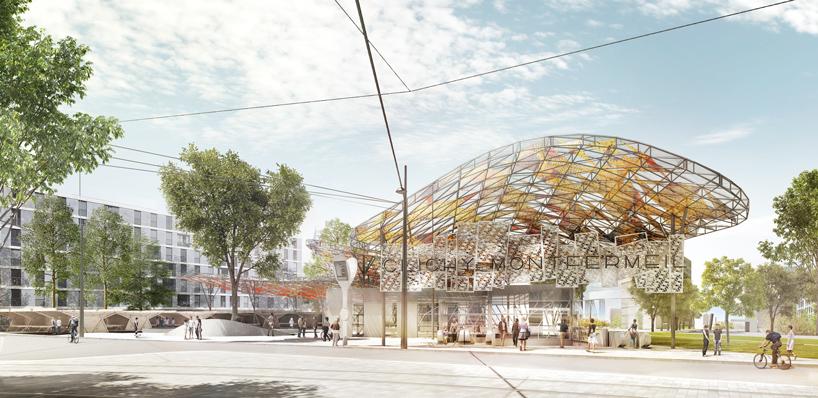 gare clichy-montfermeil (line 16) by EMBT with bordas + peiro architecte image © agence miralles tagliabue EMBT / société du grand paris