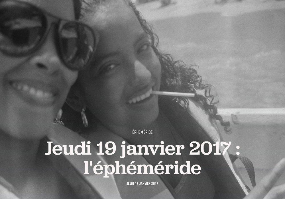 Jeudi 19 janvier 2017 : l'éphéméride