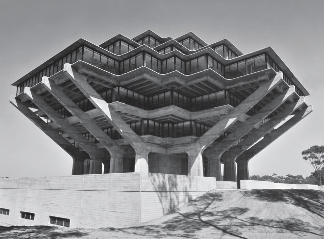 Geisel Library , University of California, San Diego, California, USA, 1970 by William Pereira & Associates. Courtesy University of California, San Diego
